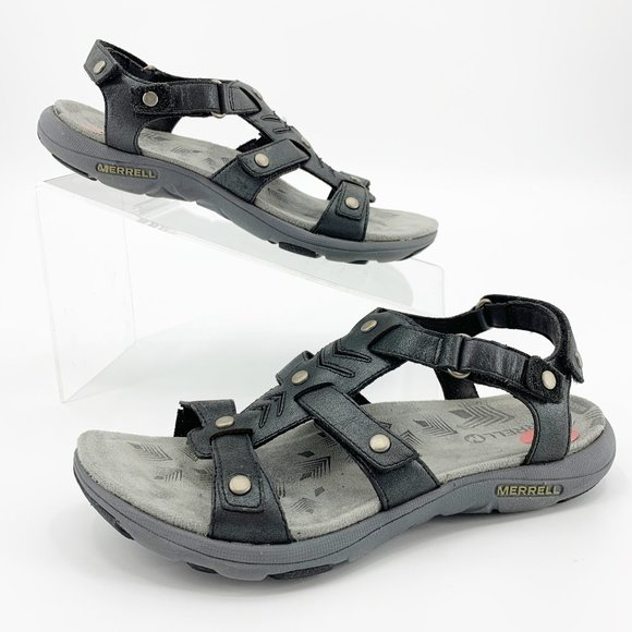 Merrell Shoes - Merrell Adhera 3 Strap Black Leather Sandals